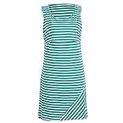 Nituyy Women Stripe Print Sleeveless Maternity Breastfeeding and Nursing Dress (S, Green)
