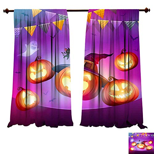 DragonBuildingMaterials Panels Sun Blocking Curtains Halloween Celebration Fun Party Jack O Lantern Party Living Room Bedroom Decor