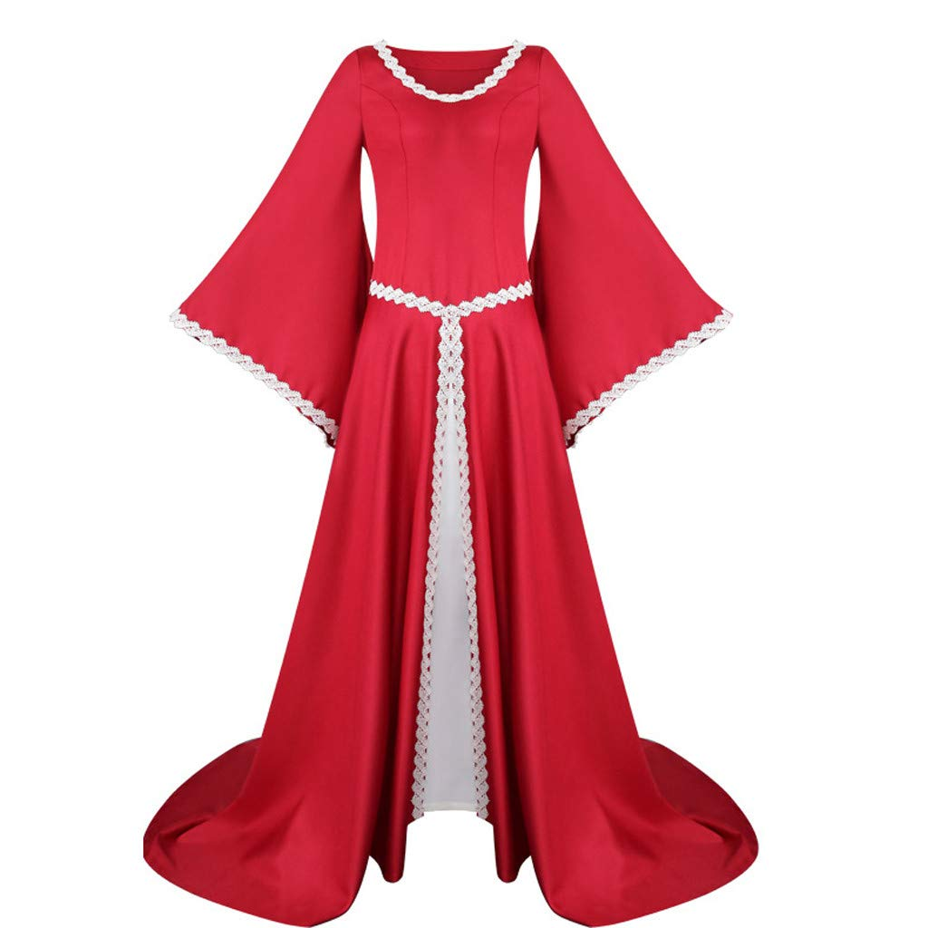 Renaissance Costume Medieval Dress for Women Irish Retro Queen Gown Halloween Cosplay Costumes (2XL, Red) by sweetnice Women Dresses