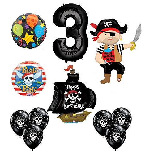 Mayflower Products Pirate 3rd Birthday Party Supplies Balloon Bouquet Decorations (Pirate Balloon Bouquet)