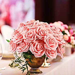 Poen 100 Pieces Artificial Flowers Blush Roses Foam Rose with Stem for DIY Wedding Bouquets Centerpieces Party Baby Shower Home Decorations 5