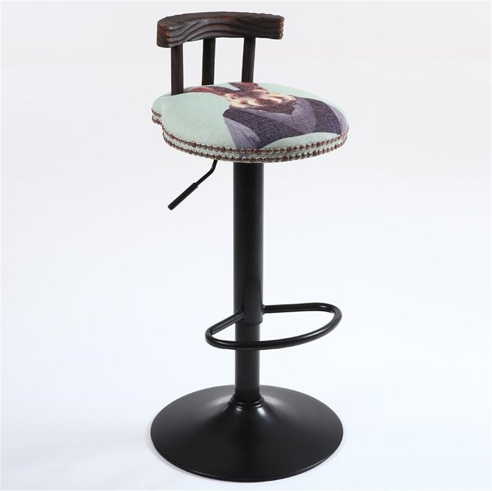 Solid Wood Retro Seat High Stool Bar Kitchen Breakfast Chair Coffee Shop Dining Chair Can Lift Up and Down / Rotating Chair Animal print
