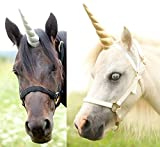 """Professional photography prop Large unicorn horn with clear elastic straps for a pony or a full size horse 12"""" in length Bridle NOT included"""