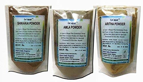 Le'ayur Combo Of Amla + Aritha+ Shikakai Powders, 300grams (100gramsx3) (Shikakai Amla Powder)