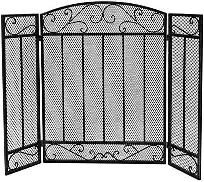 暖炉スクリーン 大型フラットガード暖炉スクリーン、屋外錬鉄装飾メッシュ、ソリッドベビーセーフ耐火パネルウッドバーニングストーブアクセサリー、ブラック、44×31in