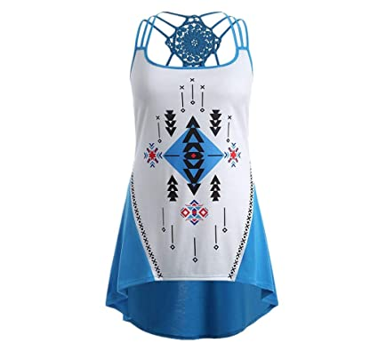 16a05adbf598a8 Women Fashion Geometry Print Bandages Sleeveless Vest Top Summer High Low  Vest Tank Tops Shirt (
