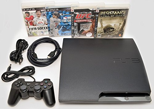 Sony Playstation 3 Slim 250gb Game Console System PS3 Bundle with 4 games MLB 10 FIFA 11 UFC Resistance (System Games Ps3)