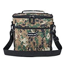 Insulated Bag, KINGSWELL i7602 Lunch Tote Bag Box Cooler Bag Silver Interior and Long Handles Picnic Cold Drink Insulation Cooler Bag Freezable Keep Food and Drinks Cool (Insulated Bag, Camo)