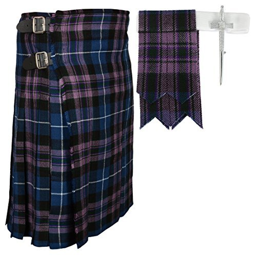 Highland Wool Pant - Scottish Pride Of Scottland Tartan Kilt FREE Flashes & Kilt Pin (Belly Button 36)