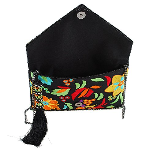 Beach Floral Beauty MARY Black FRANCES The Clutch Crossbody Embroidered And Handbag Envelope Y6Ow6Unx