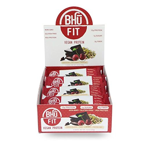 BHU BAR Tart Cherry Pistachio HIGH Protein BAR Pack of 12 by BHU BAR (Image #1)