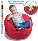Stuffed Animal Bean Bag Storage Chair in Flaming Red - 2.5ft Large Fill & Chill Space Saving Toy Organizer for Children - for Blankets, Teddy Bears, Clothes & Bedding