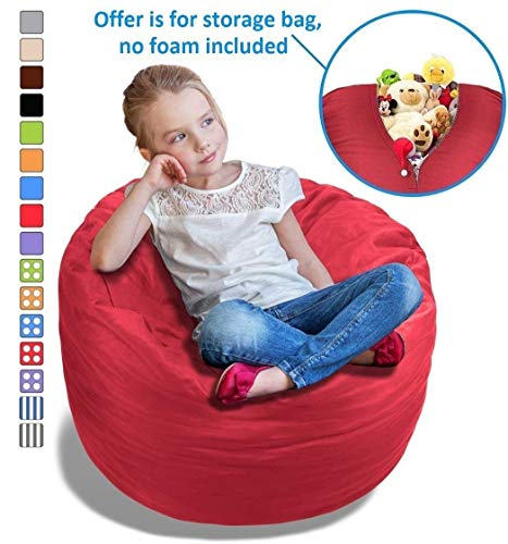 Stuffed Animal Bean Bag Storage Chair in Flaming Red - 2.5ft Large Fill & Chill Space Saving Toy Organizer for Children - for Blankets, Teddy Bears, Clothes & Bedding by BeanBob
