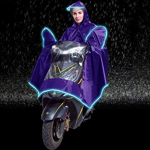 Uplord Windproof Waterproof Motorcycle Scooter Rain Hoodie Coat Night Light Hood Poncho Women Men Big Raincoat Cover Cape Poncho Rainwear and Storage Bag
