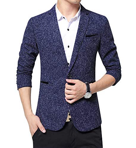 Men's Blazer Jacket Slim Fit One Button Sport Coat Notch Lapel Casual Business Solid Single Breasted Outwear (Blue, L)