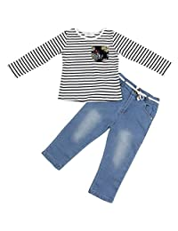 Jastore 2Pcs Little Baby Girl Clothing Sets Long Sleeve Striped T-shirt + Jeans