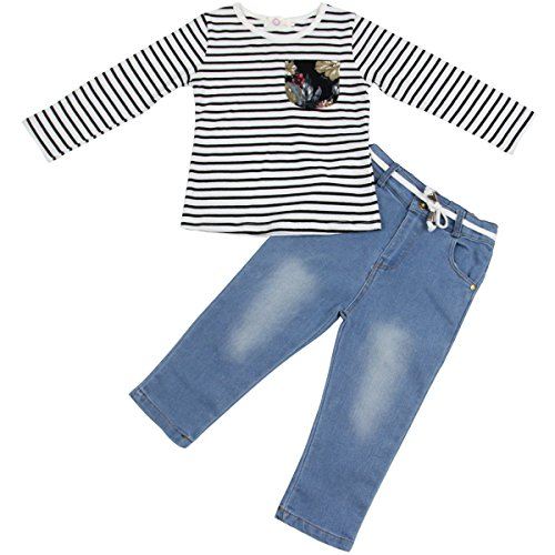 Jastore 2Pcs Little Baby Girl Clothing Sets Long Sleeve Striped T-Shirt + Jeans (3T)