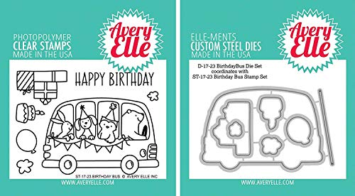 Avery Elle - Birthday Bus Clear Stamps and Dies Set - 2 item bundle