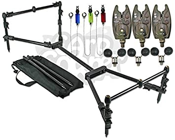 Carp Fishing Compact Black Rod Pod Setup With 3 Bite Alarms ...