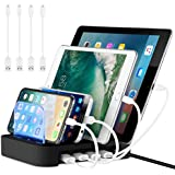 NEXGADGET USB Charging Station Dock,24W 4-Port Detachable Universal Charging Stand with 4 Cables Compatible for iPhone,Samsung Smartphone,Tablet and Other USB Devices