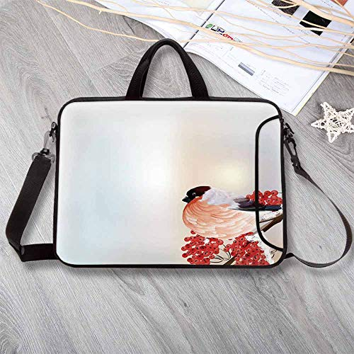 Rowan Printing Neoprene Laptop Bag,Christmas Themed Corner Composition with Bird Sitting on Wild Berry Branch Laptop Bag for 10 Inch to 17 Inch Laptop,17.3