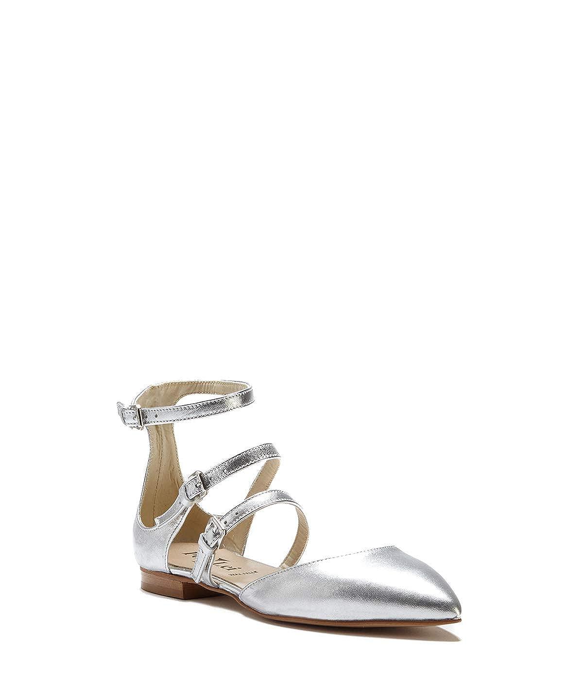 Poi Lei Damen-Schuhe Ballerinas Leyla Leder Silber Flach Leder Leyla 2efe96
