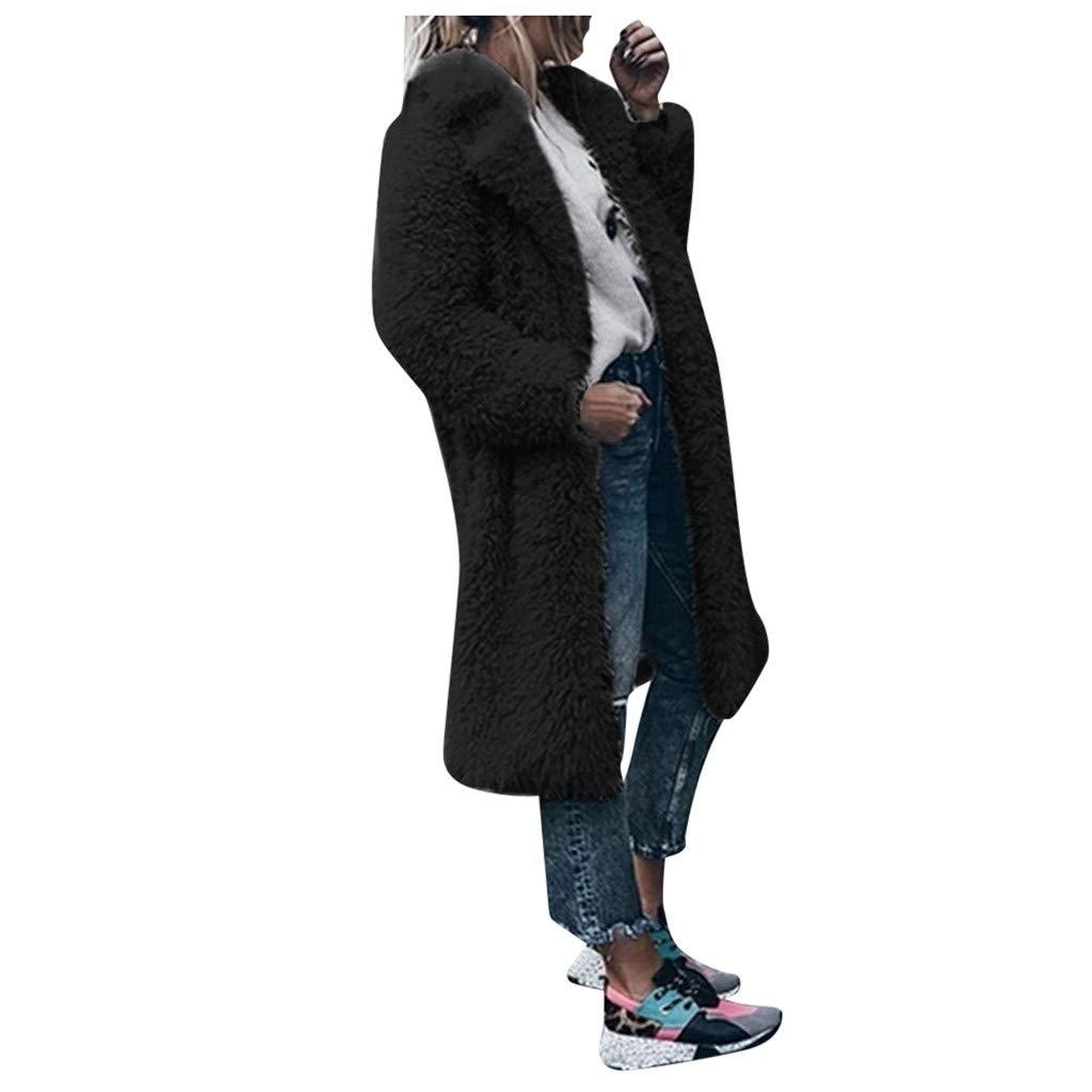 Eoeth Outwear Tunic for Womens Warm Artificial Wool Coat Jacket Lapel Long Style Winter Plush Overcoat Faux Fur Cardigan Black by Eoeth