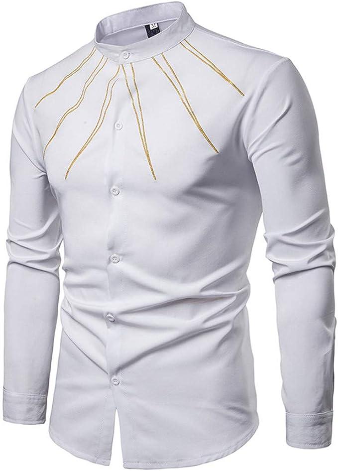 Camisa de manga larga para hombre con bordado de rayas doradas, cuello mandarín, color negro Blanco blanco M: Amazon.es: Ropa y accesorios