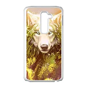 LIULAOSHI Wolf Phone Case for LG G2 White [Pattern-1] by runtopwell