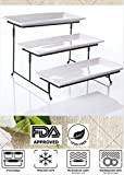 """3 Tier Collapsible Thicker Sturdier Plate Rack Stand With Plates - Three Tiered Cake Serving Tray - Dessert Fruit Presentation - Party Food Server Display Set - 3 White 12 x 6"""" Porcelain Plates Incl."""