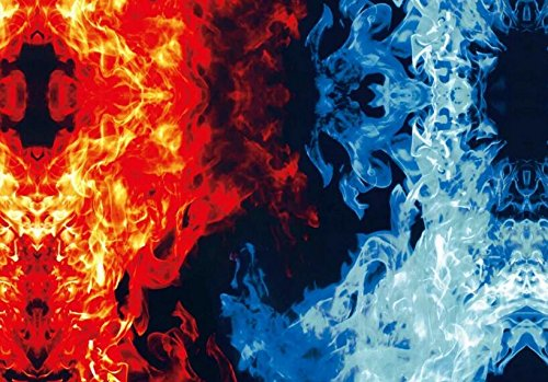 Hydrographics Film - Water Transfer Printing Film - 1.6FT Width (1.6FTX6.6FT) Red And Blue Fire Film Water Transfer Printing Film - Water Transfer Film