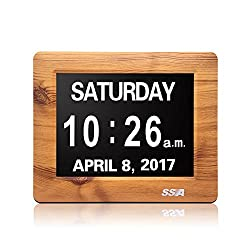 SSA Day Clock,Perfect for Seniors,Digital Day Clock For Senile Dementia ,Alzheimer's Disease And Memo Loss People (7 Wood)