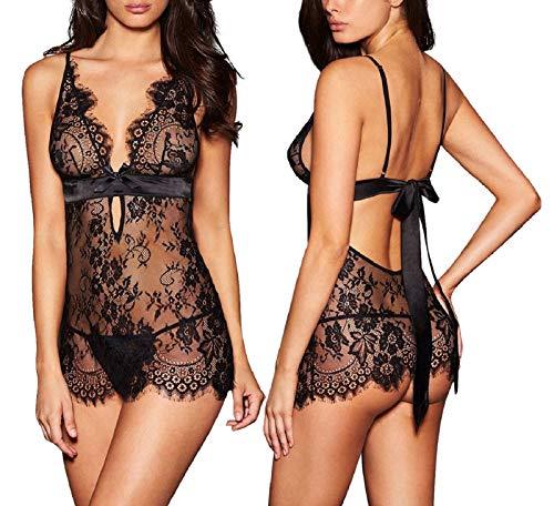 AnloveKiss Women Sexy Lingerie Black Eyelash Lace Chemise Babydoll Nightwear  (L, Black)