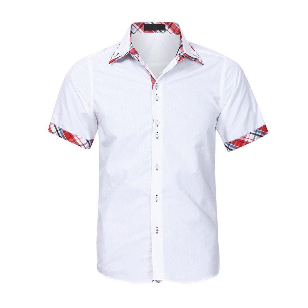 ccaca66124bc8 Manadlian-Homme Chemisette  à Manches Courtes Manadlian T-Shirt Couture  à  Rayures Cassique Blouse Summer Tops ...