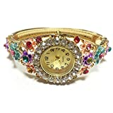 Fashion Women Bracelet Watch, ABC® Rhinestone Bangle Crystal Flower Bracelet Quartz Wrist Watch