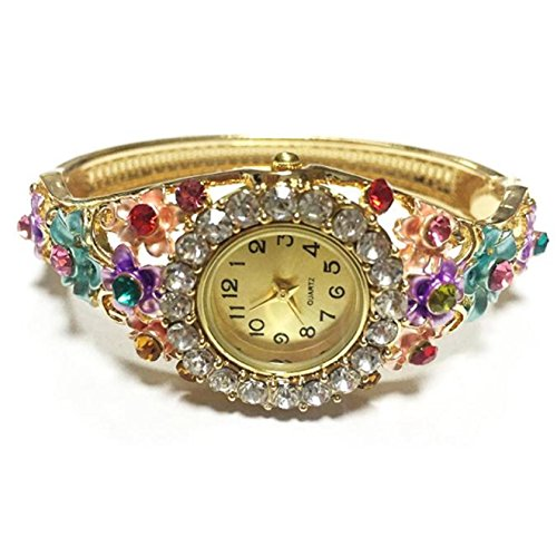 Fashion Women Bracelet Watch, ABC Rhinestone Bangle Crystal Flower Bracelet Quartz Wrist Watch (Flower Bangle Crystal)