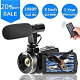 SUNLEA Video Camera Vlogging Camera with MicrophoneFull HD 1080p...