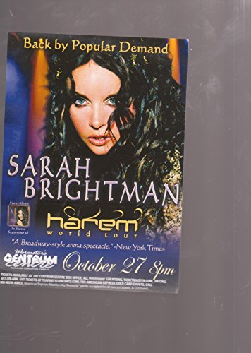 SARAH BRIGHTMAN Harem World Tour mini poster promotional card for Worcester Massachusetts