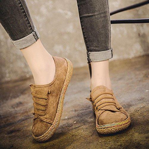 Elevin (tm) 2017women Vinter Mote Semsket Skinn Blonder-up Boots Myk Flat  Ankel ...