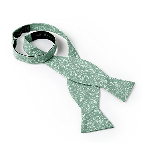 Jacob Alexander Men's Self Tie Freestyle Floral Bow Tie - Dusty Sage by Jacob Alexander (Image #1)