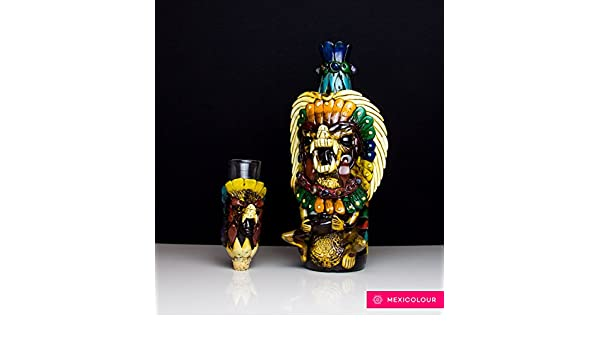 Tequila botella mexicano piedra obsidiana Shaman Guerrero Azteca Calendario Maya Shot: Amazon.es: Hogar