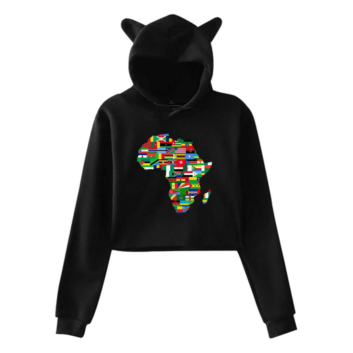 Womens Long Sleeve Crop Top Hoodies Africa Map Flags Cat Ear Lumbar Hoodie Pullover Sweater