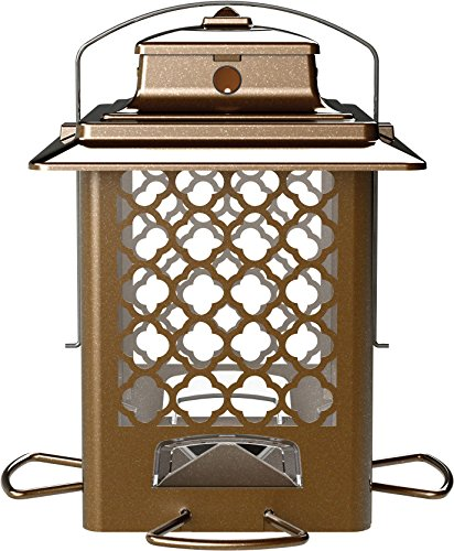 More Birds Bird Feeder, Hopper Bird Feeder, Large Seed Capacity 3.6 lb, 4 Feeding Ports, Copper Finish (Large Hopper Bird Feeder)