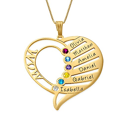 Engraved Mom Necklace w/Swarovski Birthstones-Personalized Heart Pendant 14k Solid Yellow Gold