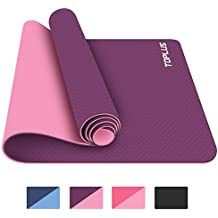 Toplus 6mm Premium TPE Yoga Mat with Carrying Strap Eco Friendly Fitness Exercise Mat, 72'' x 24''
