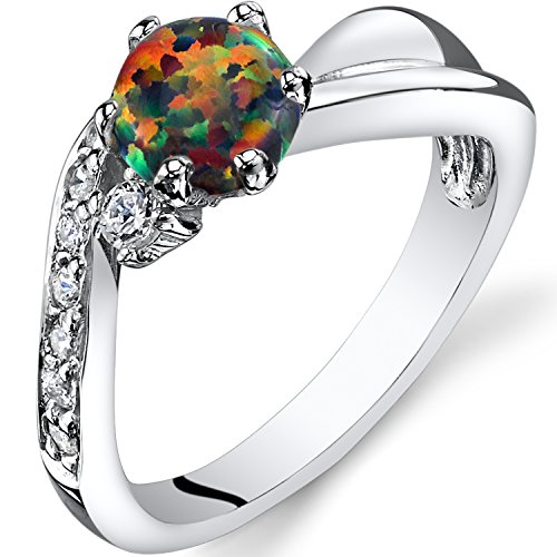 Cabochon Cluster Ring - Created Black Opal Love Waves Ring Sterling Silver Round Cabochon Size 8