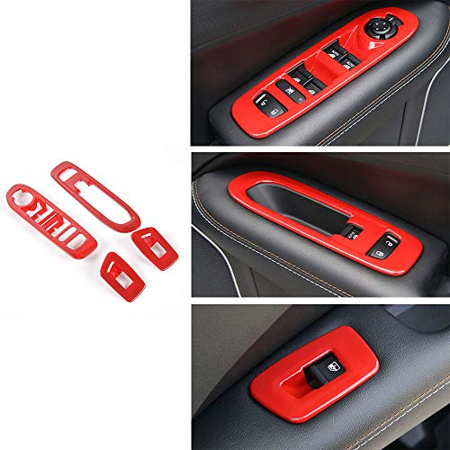 (ABS Door Window Lift Switch Button Panel Cover Frame Trim for Jeep Compass 2017 2018 (Red))