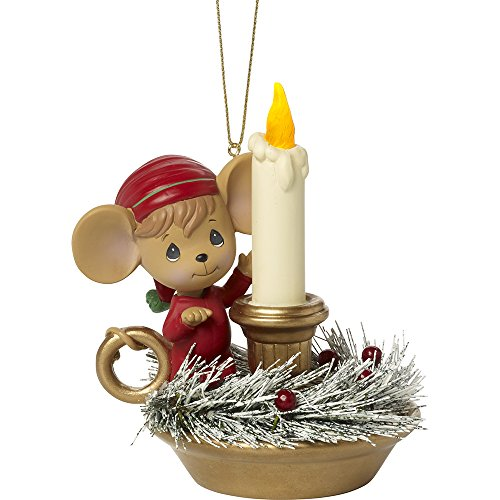 (Precious Moments Making Spirits Bright Lighted Mouse with LED Lighted Candle Resin Ornament)