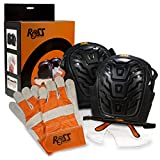 Ross Protection Professional Knee Pad Kit - Includes Heavy Duty Gel Knee Pads, Leather Work Gloves and Safety Glasses - Perfect for Construction, Gardening, Roofing, Cleaning and DIY Projects