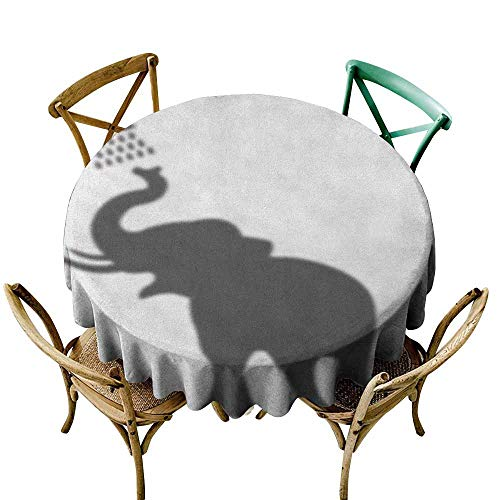 StarsART White Round Tablecloth Elephant,Elephant Taking a Shower Bathing in Bath Tub Shadow Funny Art Print Humor Design, White Grey D54,Rectangle Tablecloth Dinner Picnic